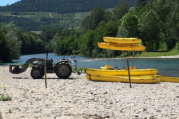 camping les Prades arrivée parcours canoe kayaka gorges du tarn plage